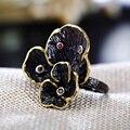 3 Цветы Смешивания Новый Фантастический листьев Лотоса Кольцо Проложить с Фиолетовый и Siam Кубический цирконий в Черный позолоченный Цветок Кольцо Мода