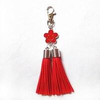 12pcs/lot Pu Leather Tassels Key Chain Zinc Alloy Smiling Face KeyringLobster Clip 2 Tassels Silver Cap Bag Pendant Car Key Ring