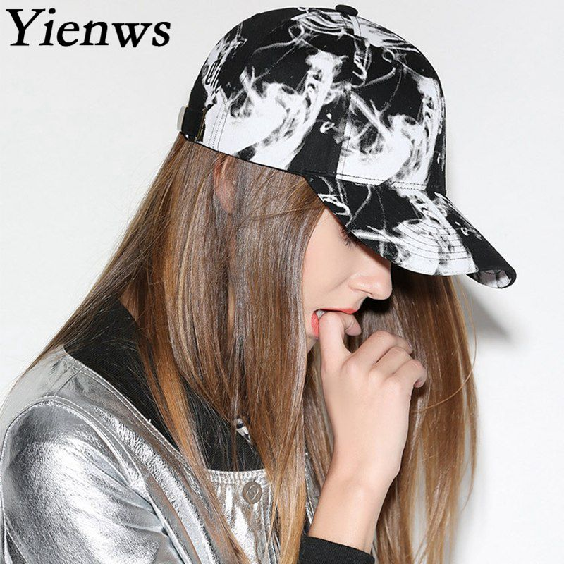 Yienws Curved Brim Baseball Cap for Women Men 2018 Summer Leisure Trucker Hats White Black Print Bones Chapeau YIC612 yienws vintage jeans curve brim trucker