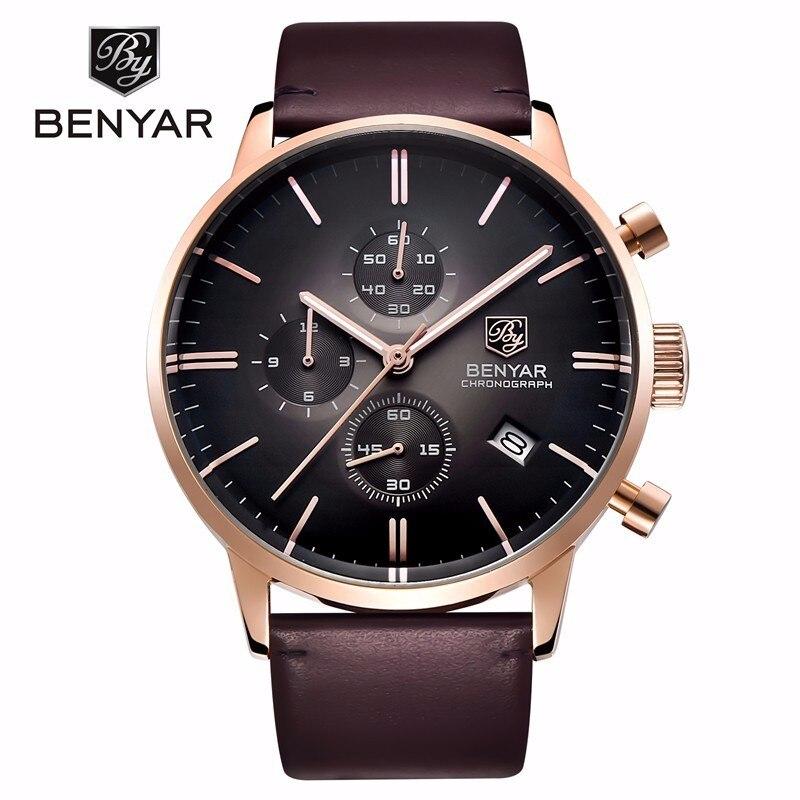 BENYAR модные Элитный бренд Для мужчин кожаные часы Бизнес кварцевые часы Нержавеющаясталь случае Водонепроницаемый часы erkek коль saati