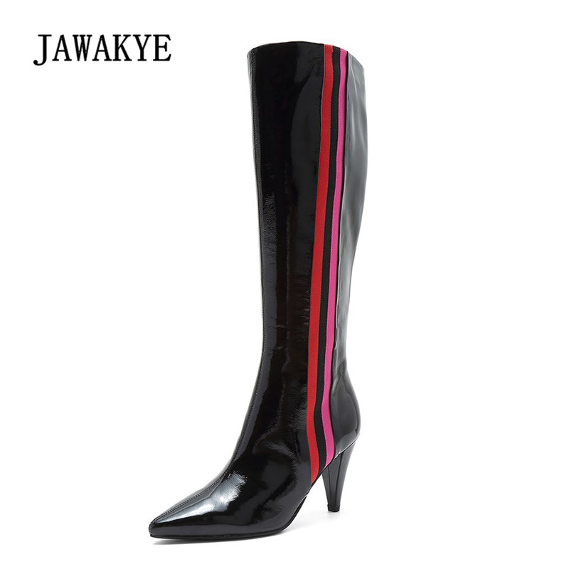 2018 Chic Knee High Boots Women Pointed Toe Leather High Heel Boots Woman Fashion Long Boots new arrive woman black leather pointed stiletto heel knee high boots rivets beading high heel woman knee high boot long boots