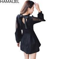 HAMALIEL Newest 2018 Autumn Winter Women Party Vestidos Black Chiffon Patchwork Long Lantern Sleeve Sexy Back