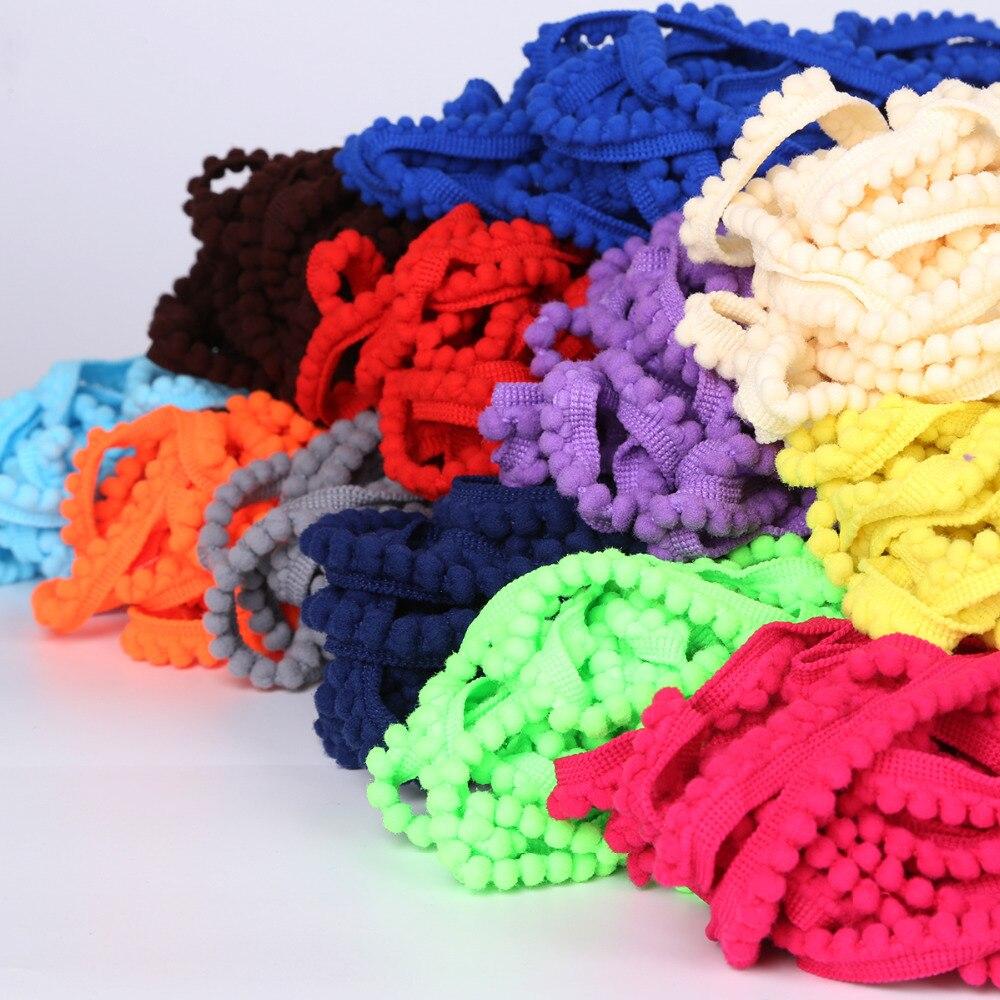 5 ярдов 10 мм 20 цветов Помпоном Мяч планки ленты DIY Craft Одежда для куклы дома подушки детские шторы Вышивание кружево интимные аксессуары
