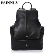 FSINNLV New High Quality Men Backpack Genuine Leather Man Travel Bags Large Capacity Male Business Bags School Backpack DC179