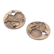 Sweet Bell 10Pcs/lot 37mm Vintage Metal Big Steampunk Watches Clock Gears Charms Two Color Zinc Alloy Watches Clock Charms D6032