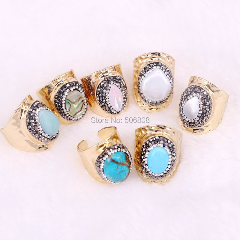 ZYZ R3137 Nature Fresh Water Pearl Cuff Ring Pave Crystal Zircon Shell Stone Gold Rings