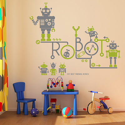 Wall Sticker For Kids Rooms New Cartoon Robot Vinyl Wall - Wall decals 2016