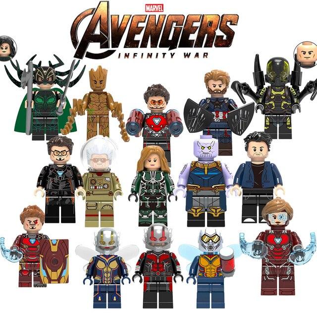 Super Heróis Figuras Marvel Capitão América Homem-Formiga Spiderman Homem De Ferro Blocos de Construção de Mini Tijolos Crianças ToysYF30 LEGOINGLYS