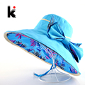 шляпа пляжная летние Летние шляпы для женщин цветочным узором и сплошные цвета шапка использования мода на открытом воздухе козырьки шляпа женская лето большой шляпы