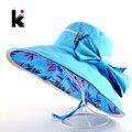 Sombrero de playa Sombreros de Verano Para Mujeres Patrón de Flores Y Sólido colores Lados Uso Amplia Grandes Brim Viseras de Sun Del Casquillo de La Manera sombrero