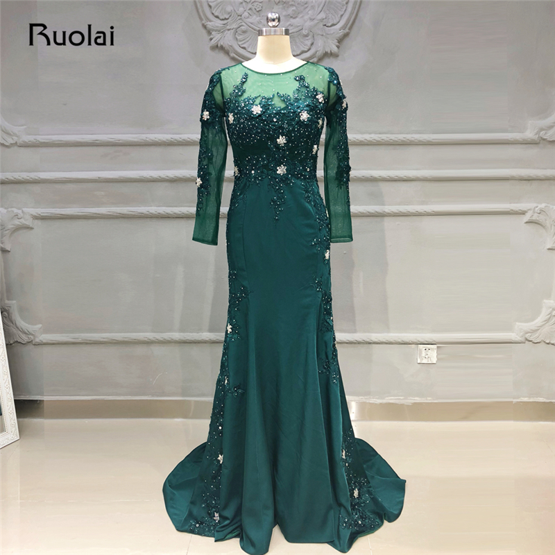 Dark Green Mermaid   Evening     Dresses   Long Sleeves Crystal Beaded Lace Prom   Dress   2019 Formal Party   Dress   Vestido de Fiesta SE26