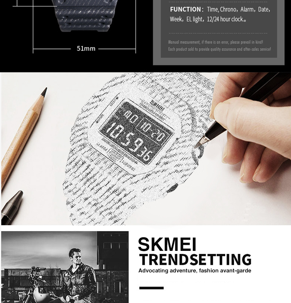 SKMEI Outdoor Sport Watch Men Digital Watch 5Bar Waterproof Alarm Clock Cowboy Military Fashion Watches relogio masculino 1471