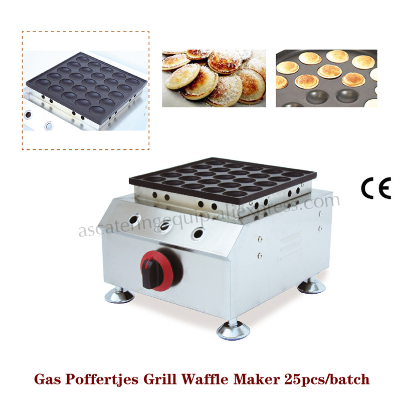 Gas Mini Dutch Pancake Machine Nonstick Poffertjes Grill Baker Stainless Steel 25pcs Molds in One Pan octopus ball machine gas stove device takoyaki grill meatballs baker cooking stove machine 84 molds