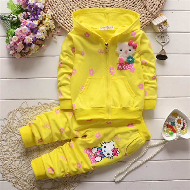 2016 new spring autumn baby girls clothing set children hoodies cotton girls t-shirts+pants sport suit set children outerwear