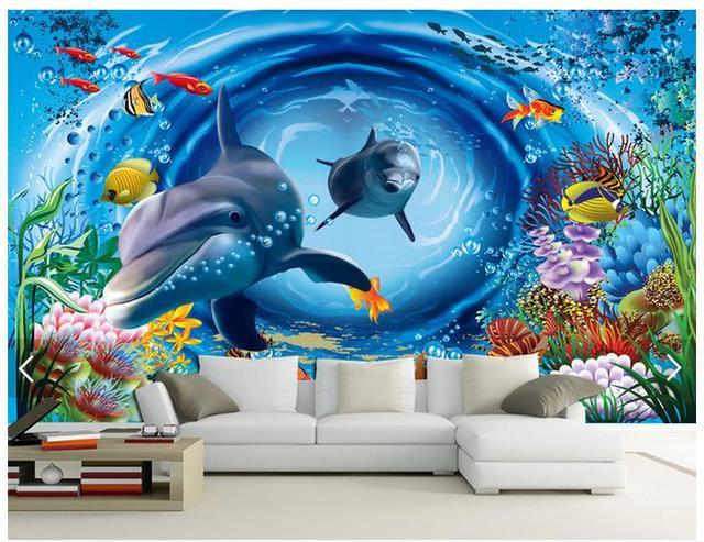 Custom 3d photo wallpaper 3d wall murals wallpaper 3 d underwater cartoon  background wall paintings 3d