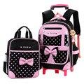 Bolsas escolares removibles para niños con 2 ruedas mochila impermeable para niños bolsas con ruedas para niños y niñas