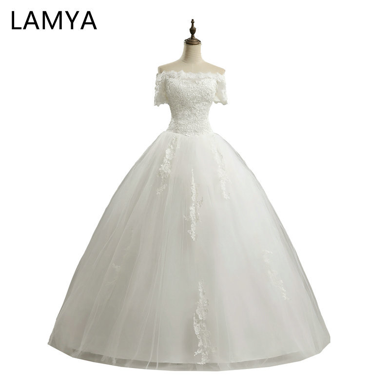 LAMYA High Quality Princess 2019 Elegant Wedding Dresses With Short Sleeve Bridal Gowns Discount Plus Size vestidos de noiva