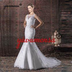 Vestidos De Novias Русалка Длинные Роскошные свадебное платье 2019 Vestido Novia Corto Свадебные платья из жемчуга Trouwjurk Robe De mariée