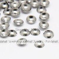 Pandahall 304 Stainless Steel Bead Caps, Apetalous, Half Round, 4x1mm, Hole: 0.5mm; 5000pcs/bag