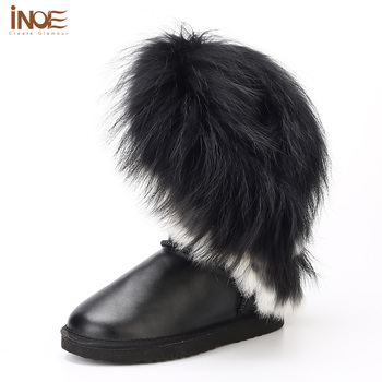 High Quality Real genuine leather nature rabbit fox fur tassels white snow boots for women fashion flats winter shoes waterproof