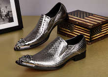 Hot Fashion Gold Dress Shoes Men Metal Oxford For Slip On Flats Office Formal Wedding Male italian Lasts