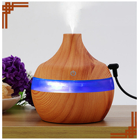 THANKSHARE Aroma Essential Oil Diffuser Ultrasonic Air Humidifier With Wood Grain 7Color Changing LED Lights Aroma