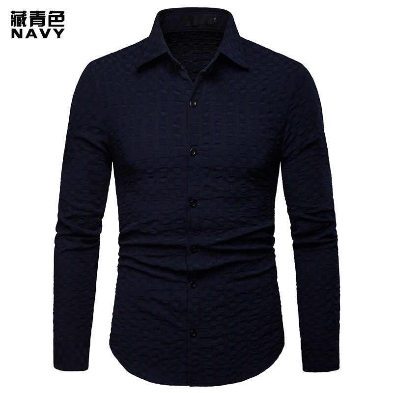 Черная мужская клетчатая рубашка 2019, новая мужская повседневная рубашка на пуговицах, приталенная рубашка с длинными рукавами, мужская рубашка Camisa Social Masculina