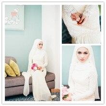 Vintage Muslim Long Sleeve Wedding Dresses With Hijab Islamic Plus Size Pearl Lebanon Wedding Gown Gelinlik Dantel MSL31