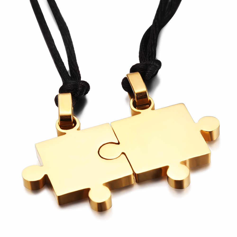 free shipping Monla Fashion Couple Jigsaw  Puzzle Jewelry Lovers Stainless Steel Necklaces Pendant