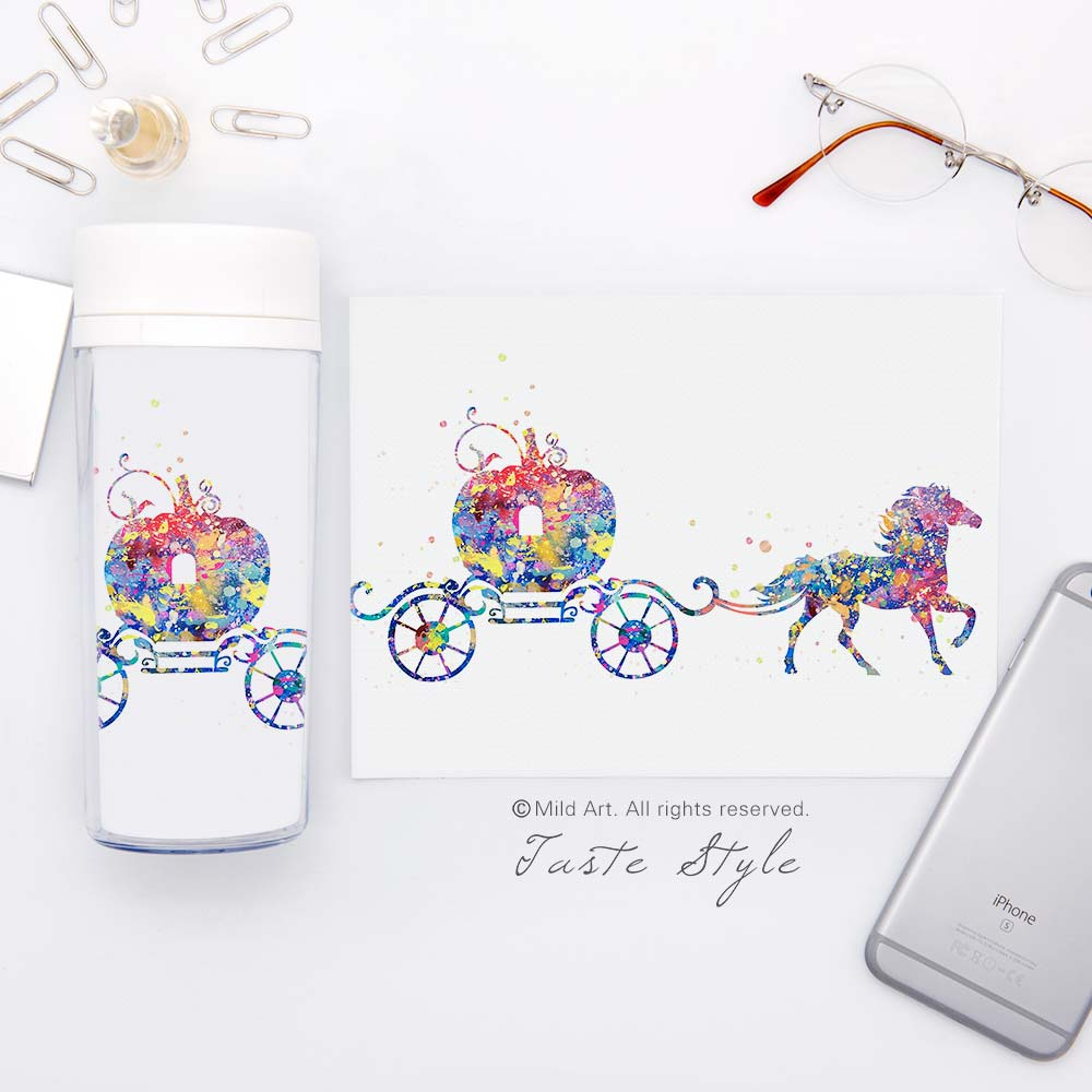 Clear Personalized Wide Mouth Modern Watercolor BPA Free Plastic Insulated Cartoon <font><b>Cinderella</b></font> Kids Water Bottles 300ml Gifts