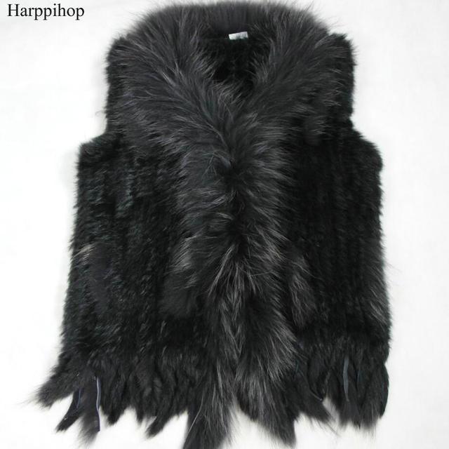 Chất lượng cao Bán Hot Bán Lẻ/bán buôn Raccoon Dog Fur Cổ Áo Cắt Phụ Nữ Dệt Kim Rabbit Natural Fur Vest Gilet/ áo ghi lê