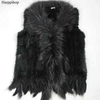 high quality Hot Sale Retail/wholesale Raccoon Dog Fur Collar Trim Women Knitted Natural Rabbit Fur Vest Gilet/waistcoat - Category 🛒 Women\'s Clothing