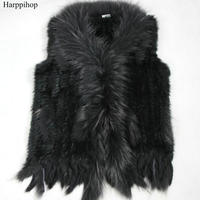 high quality Hot Sale Retail/wholesale Raccoon Dog Fur Collar Trim Women Knitted Natural Rabbit Fur Vest Gilet/waistcoat