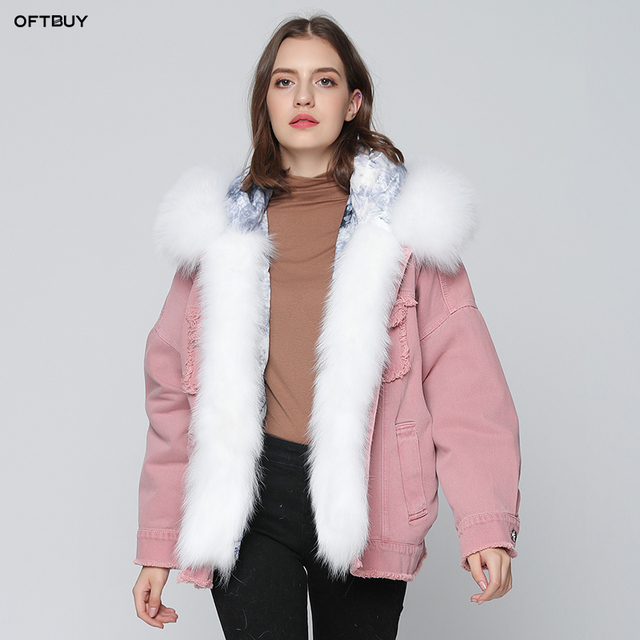 ec14286c6ea9 2019 autumn winter jacket coat women Holes pink Denim jacket real large fox  fur collar hooded white duck down jacket korean NEW