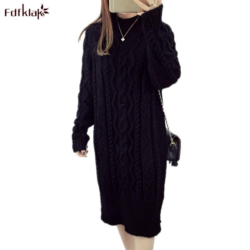 Fdfklak 2018 New Autumn Winter Woolen Dress Knitted Dresses Women Knee-length Sweater Dress Large Size Dress vestido de festa free people new purple women s size large l surplice popover sweater dress $128