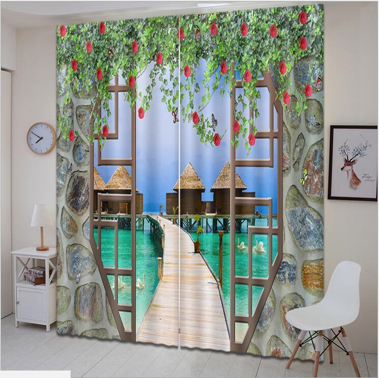 Balcony Seaview Beach 3D Blockout Photo Printing Curtains Draps Fabric Window