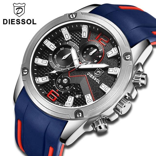 DIESSOL Men's Fashion Sports Quartz Watch Mens Watches Top Brand Luxury Rubber Band Waterproof Business Watch Relogio Masculino