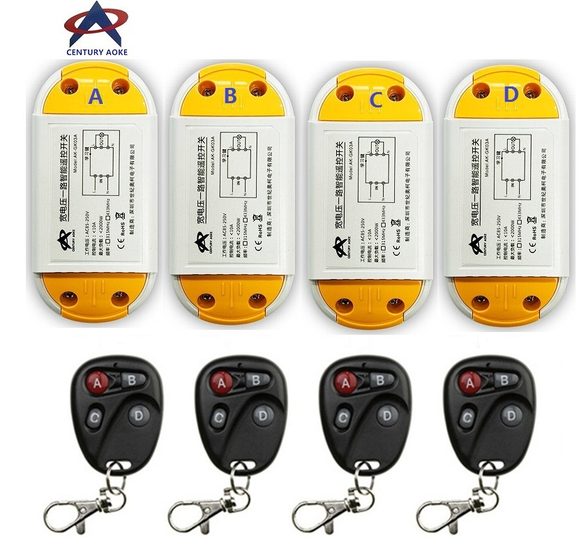 AC220V 110V 85-240V 1CH 10A RF Wireless Remote Control Switch System 4 A6 transmitter & 4 receiver Smart Home Switch new design y a4e 1000wx4 4 channel rf remote control wireless switch white 200 240v