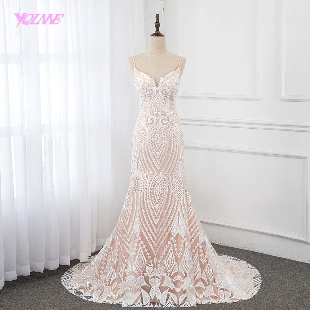 Aliexpress.com : Buy 2019 Nude Lace Mermaid Wedding Dress
