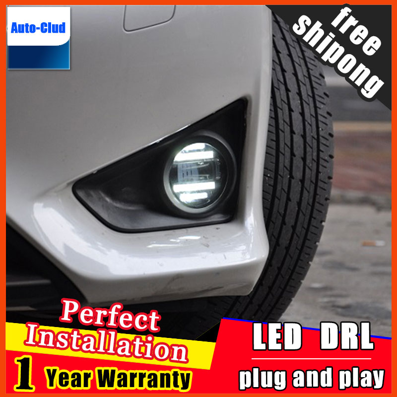 Car styling LED fog light for toyota Yaris 2008 2014 LED Fog lamp with lens and LED day time running ligh for car 2 function