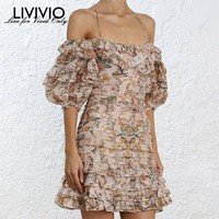 [LIVIVIO] Sexy Off Shoulder Dresses Women Strapless Lantern Half Sleeve Patchwork Ruffle Print Dress Female 2019 Summer New