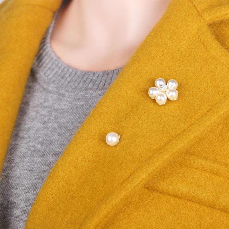 Blucome Imitasi Mutiara Bunga Pernikahan Bros Pin untuk Sesuai dengan Warna Emas Elegan Lapel Pin Wanita Boutonniere Stick Bros Joyeria