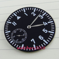 38.9mm Parnis black dial Luminous Number fit 6497 movement Men's Watch dial + hands