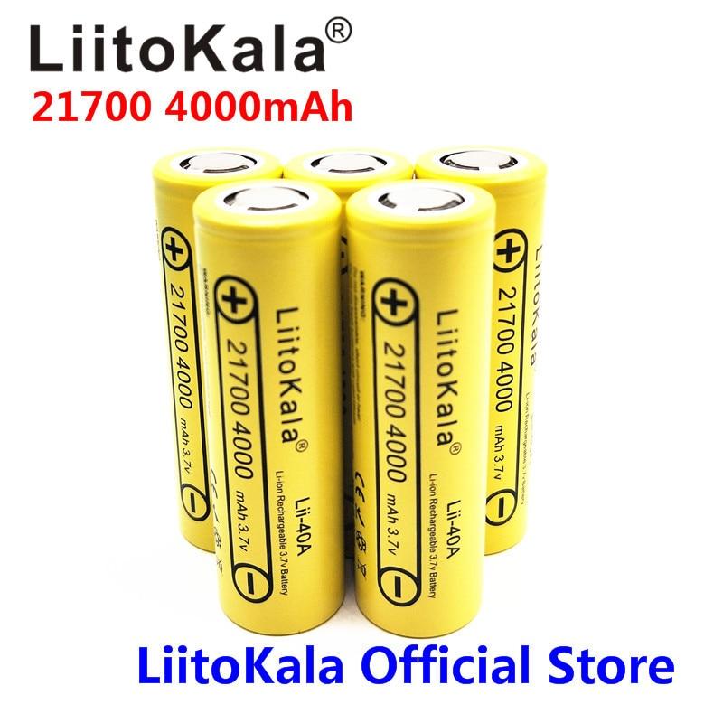 5PCS LiitoKala Lii-40A 21700 4000mAh Rechargeable Li-Ion Battery 3.7 V 15A Power 5C Disc ...