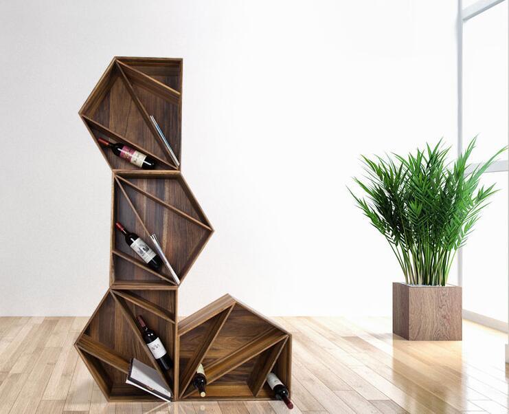 Wood Bookshelf Magnazine Red Wine Holder Display Rack Box Case Combination Storage Shelf Furniture Diy Wine Rack Cabinet Bar