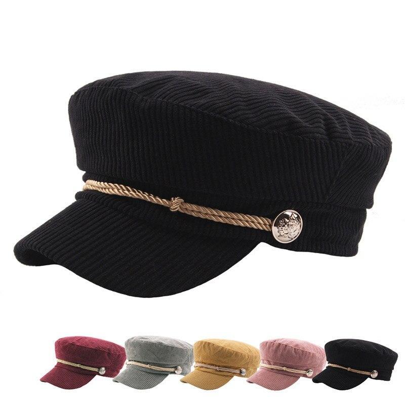 94fdfe7eedd Corduroy Black Hat For Women Men Fashion Newsboy Cap Striped Flat Hats  Autumn Winter Felt Caps