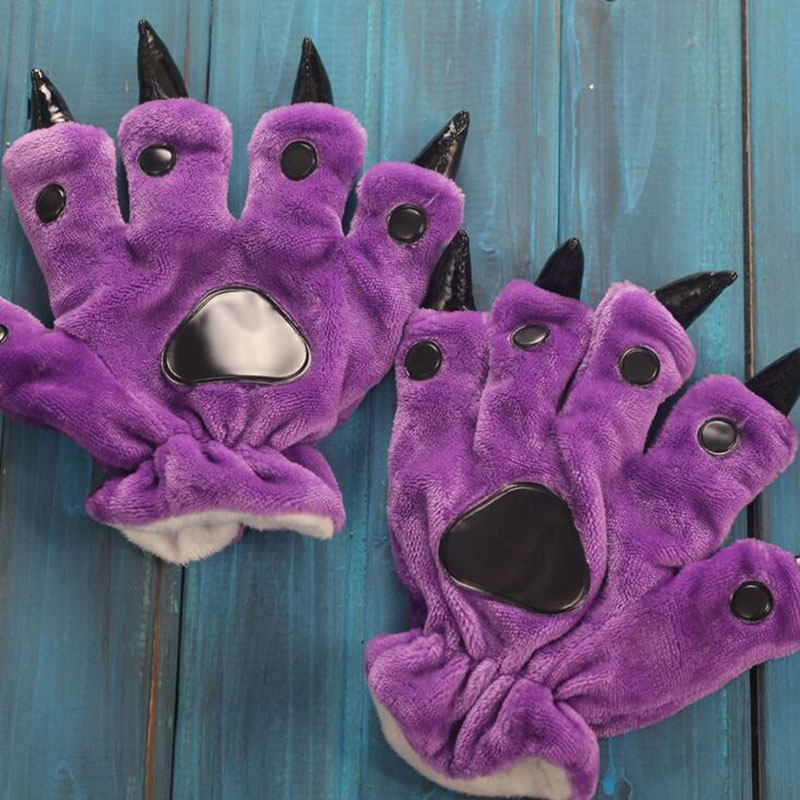 Lovely Cartoon Animal Bear Cat Claw Paw Footed Pajama Gloves Women Men Cosplay Soft Plush Mittens Halloween Costumes Gloves L29