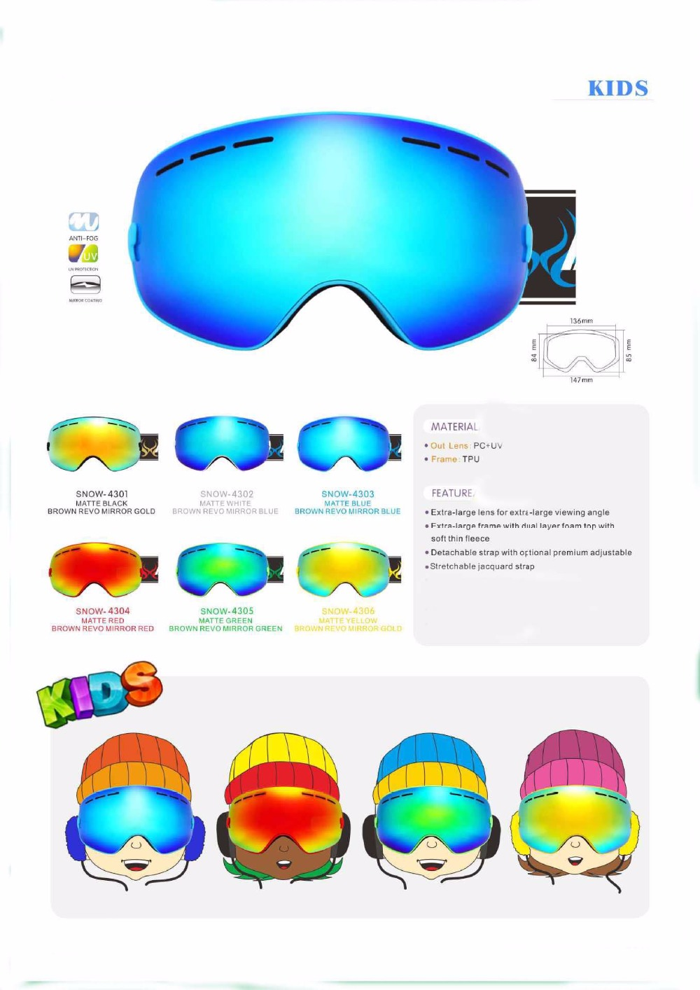 Aliexpress.com : Buy Benice Kids Ski Goggles Small Size for Children ...