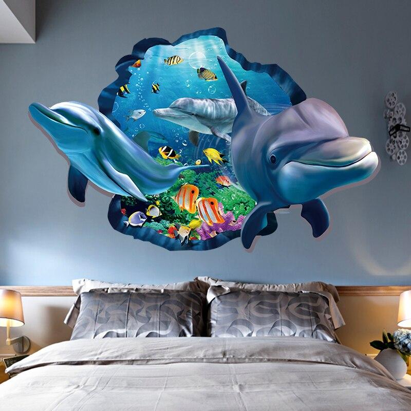 PVC Delphin Meer Szenen Fenster Ansicht Abnehmbare Wand Aufkleber 3D Durch  Wand Dekor Hause Schlafzimmer Wohnzimmer Dekoration Zubehör