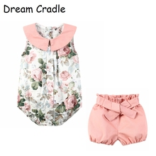 Dream Cradle /  Toddler Girl Clothes Peter Pan Collar Baby Romper and Shorts set